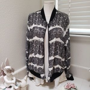 Black and white floral zipper jacket